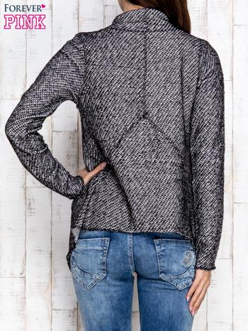 Ciemnoszary otwarty sweter z drapowanym kołnierzem                                  zdj.                                  4