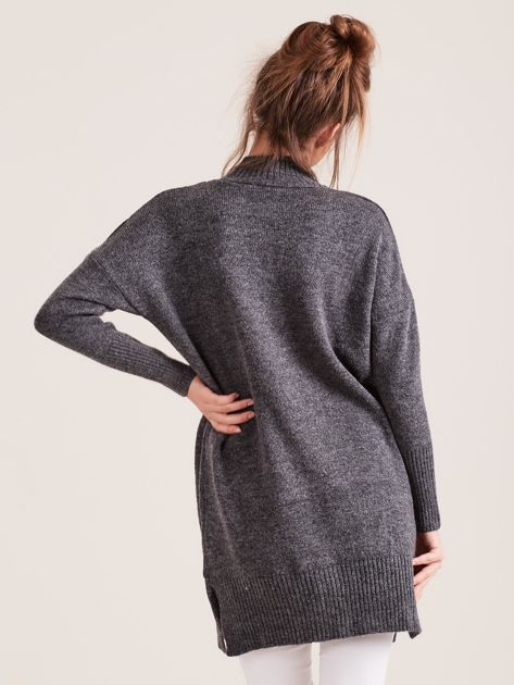 Ciemnoszary sweter damski z golfem                              zdj.                              2