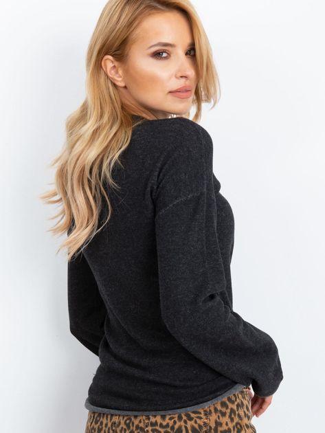 Ciemnoszary sweter damski z szerokimi rękawami                              zdj.                              3