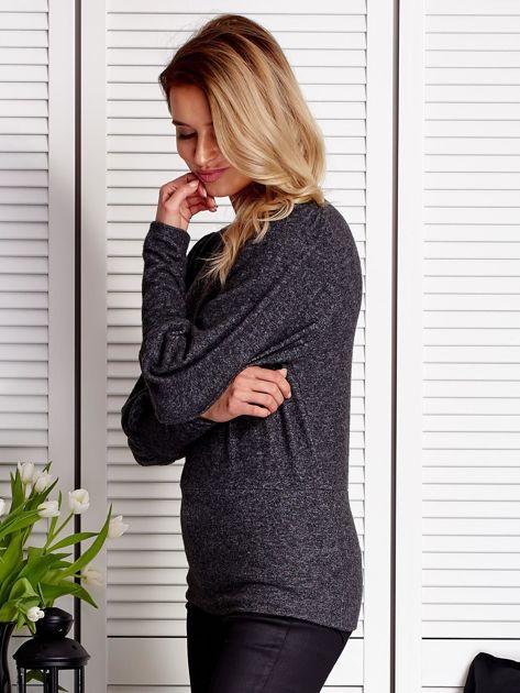 Ciemnoszary sweter z marszczeniami na rękawach                              zdj.                              5