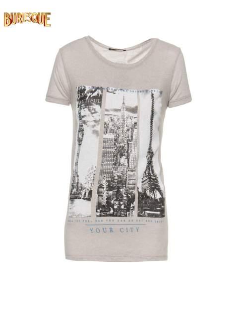Ciemnoszary t-shirt z fotografiami miast