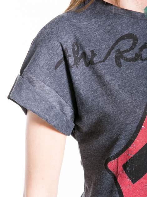 Ciemnoszary t-shirt z logo THE ROLLING STONES                                  zdj.                                  6