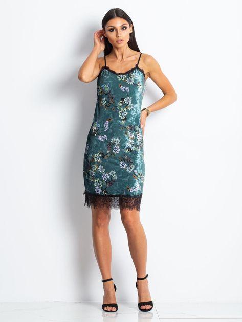 Ciemnoturkusowa aksamitna sukienka w kwiaty                              zdj.                              4