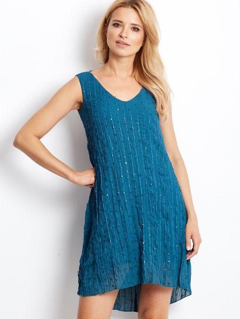 Ciemnoturkusowa sukienka z cekinami i wiązaniem z tyłu                              zdj.                              1