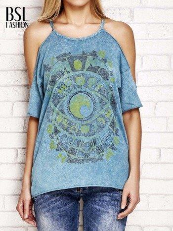 Ciemnoturkusowy t-shirt cut out shoulder z azteckim nadrukiem                                  zdj.                                  1