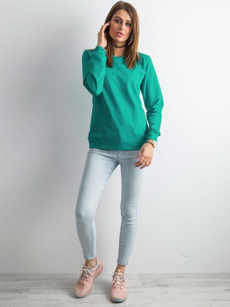 Ciemnozielona bluza damska basic                              zdj.                              4