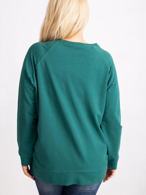 Ciemnozielona bluza plus size Style                              zdj.                              2