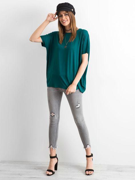 Ciemnozielona bluzka Oversize                              zdj.                              4