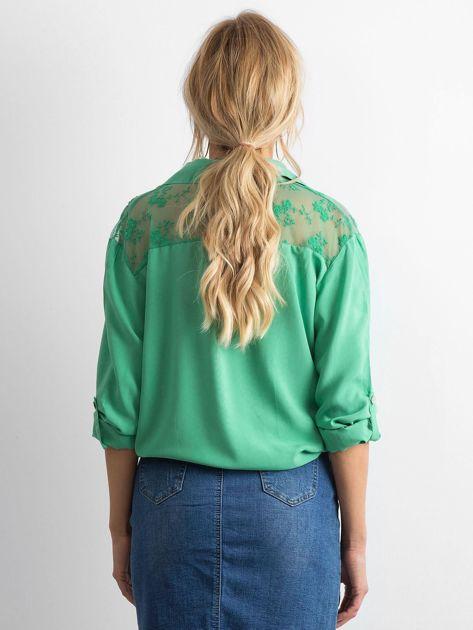 Ciemnozielona koszula z długim rękawem                               zdj.                              2