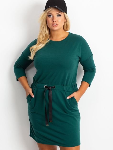 Ciemnozielona sukienka plus size Lyric                              zdj.                              1
