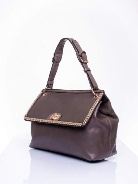 Ciemnozielona torebka kuferek ze złotym łańcuszkiem                                  zdj.                                  2