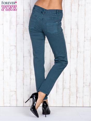 Ciemnozielone jeansowe spodnie skinny z wysokim stanem                                  zdj.                                  2
