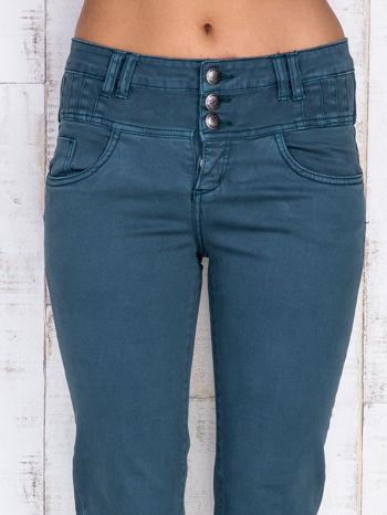 Ciemnozielone jeansowe spodnie skinny z wysokim stanem                                  zdj.                                  4