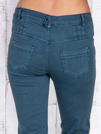 Ciemnozielone jeansowe spodnie skinny z wysokim stanem                                  zdj.                                  5