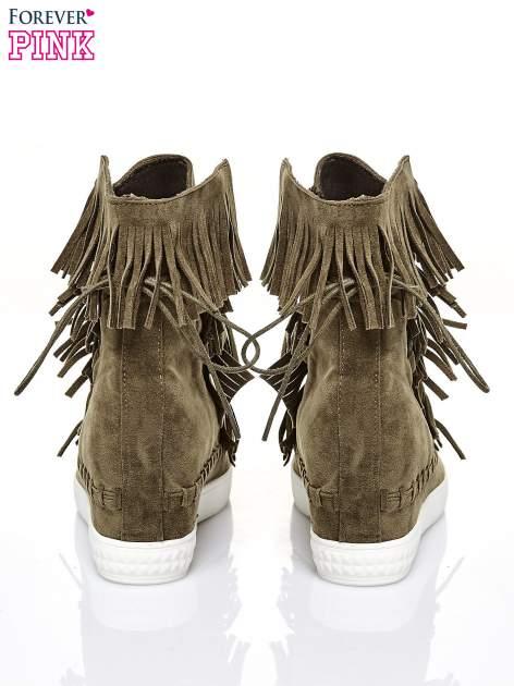 Ciemnozielone sneakersy damskie z frędzlami                                  zdj.                                  3