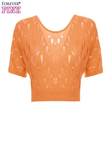 Ciemnożółty krótki ażurowy sweterek                                  zdj.                                  2