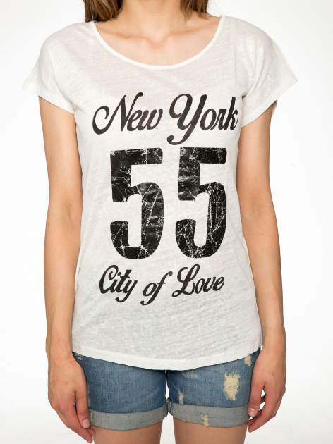 Ciemnyecru t-shirt z napisem NEW YORK CITY OF LOVE 55                                  zdj.                                  7