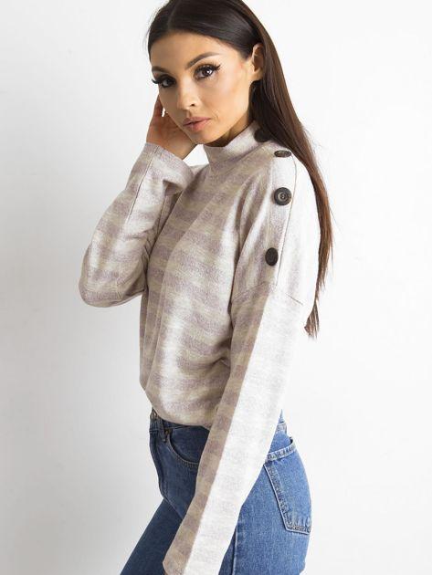 Cienki sweter w paski z półgolfem różowy                              zdj.                              5