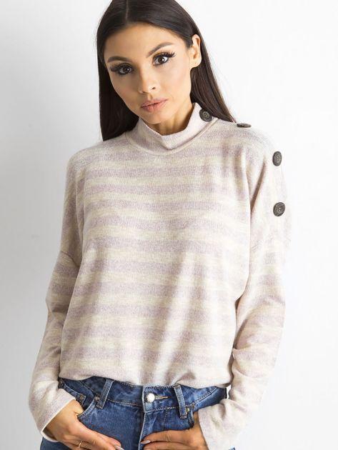 Cienki sweter w paski z półgolfem różowy                              zdj.                              3