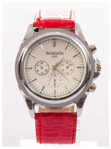 Cudny zegarek damski na czerwonym pasku                                  zdj.                                  1