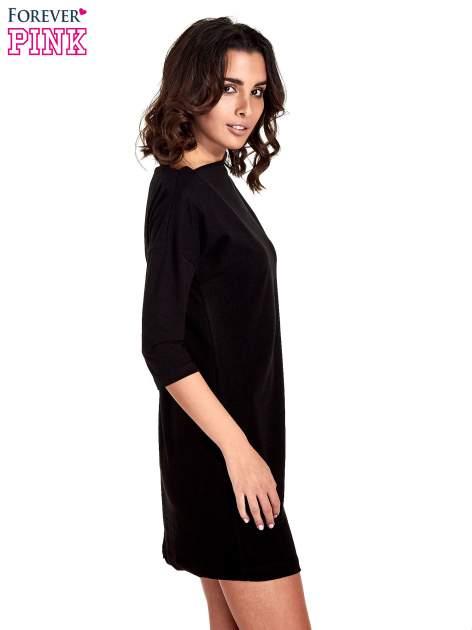 Czana sukienka z dekoltem w łódkę                                  zdj.                                  3
