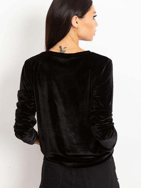 Czarna aksamitna bluza z herbem z dżetów                              zdj.                              5