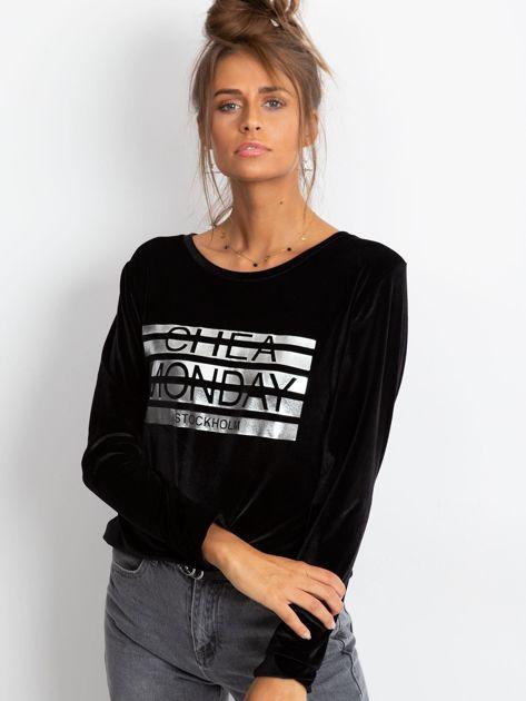 Czarna aksamitna bluza ze srebrnym nadrukiem                                  zdj.                                  2