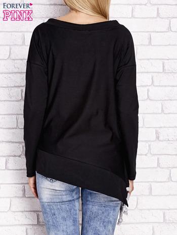 Czarna asymetryczna bluza z troczkami                              zdj.                              4