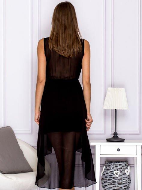 Czarna asymetryczna sukienka maxi                              zdj.                              2