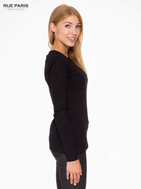Czarna basicowa bluzka z długim rękawem                                  zdj.                                  3