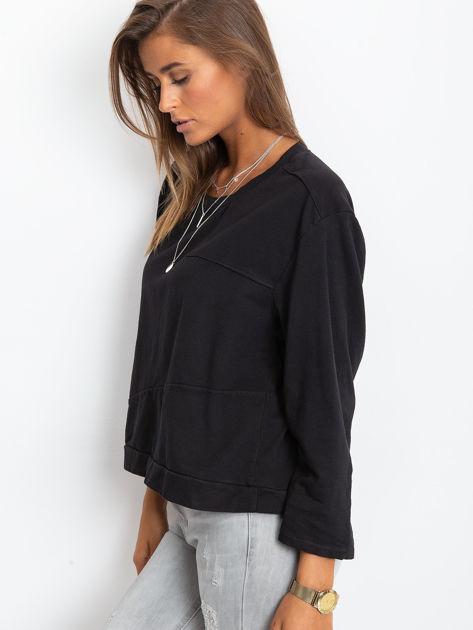 Czarna bawełniana bluza oversize                              zdj.                              3