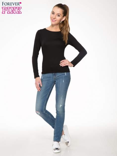 Czarna bawełniana bluzka typu basic z długim rękawem                                  zdj.                                  2
