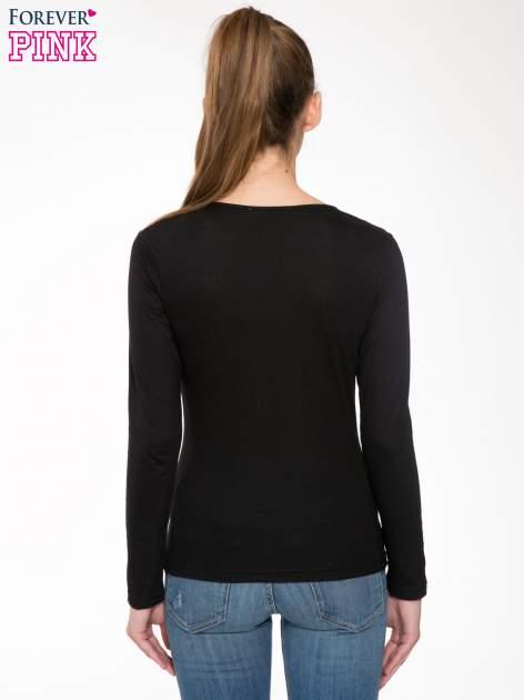 Czarna bawełniana bluzka typu basic z długim rękawem                                  zdj.                                  4