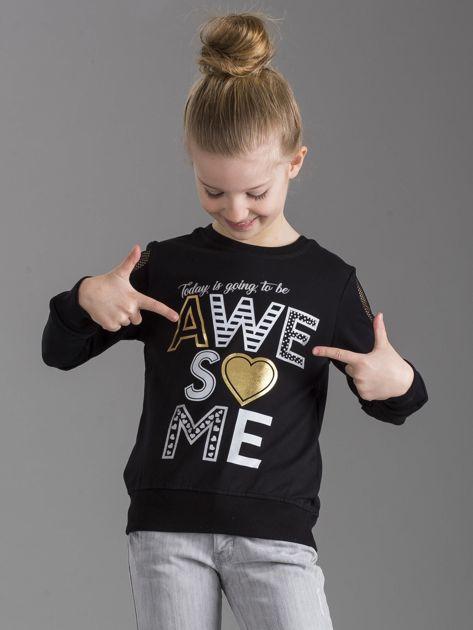 Czarna bluza dla dziewczynki z nadrukiem                              zdj.                              5