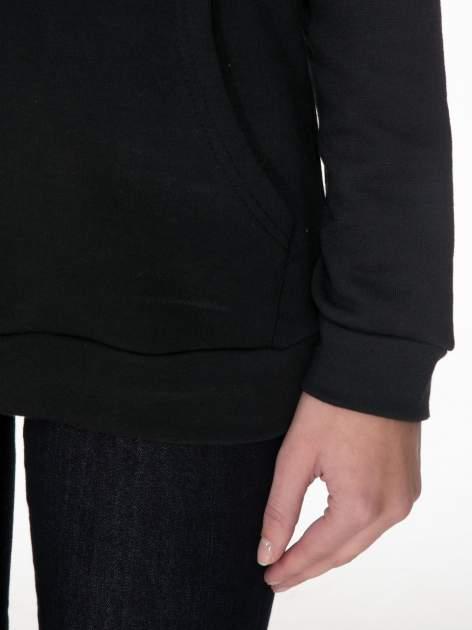 Czarna bluza kangur z kapturem i nadrukiem FÉLINE MEOW                                  zdj.                                  6
