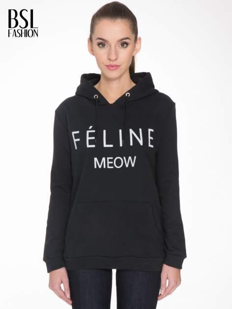 Czarna bluza kangur z kapturem i nadrukiem FÉLINE MEOW