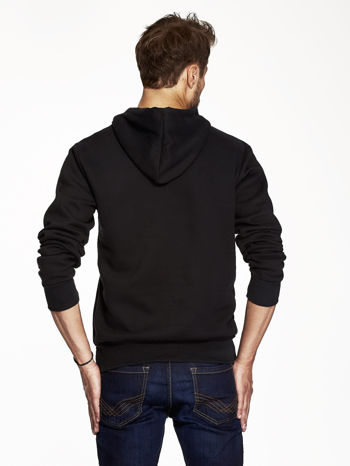 Czarna bluza męska z industrialnym nadrukiem                                  zdj.                                  2