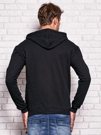 Czarna bluza męska z kapturem i nadrukiem