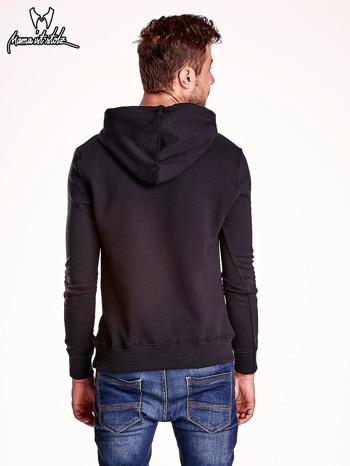Czarna bluza męska z kapturem i zwierzęcym nadrukiem                                  zdj.                                  5