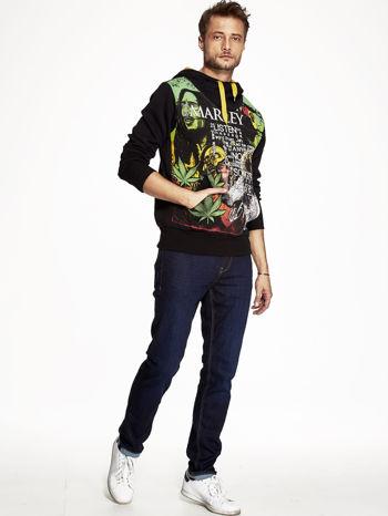 Czarna bluza męska z kapturem z nadrukiem reggae                                  zdj.                                  4