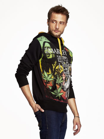 Czarna bluza męska z kapturem z nadrukiem reggae                                  zdj.                                  3
