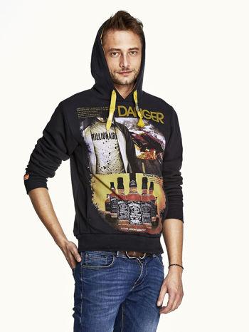 Czarna bluza męska z kapturem z napisem DANGER                                  zdj.                                  5