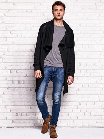 Czarna bluza męska z kaskadowym dekoltem                                  zdj.                                  5