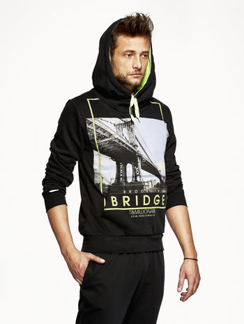Czarna bluza męska z nadrukiem Brooklyn Bridge                                  zdj.                                  5