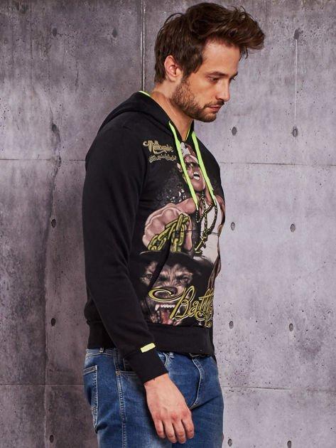 Czarna bluza męska z raperskim nadrukiem                                   zdj.                                  5