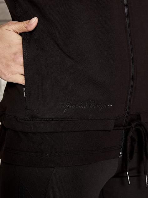 Czarna bluza sportowa fitness z wiązaniem                                  zdj.                                  5