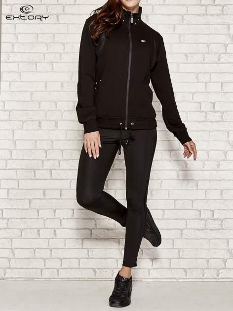 Czarna bluza sportowa fitness ze wstawkami                                  zdj.                                  2