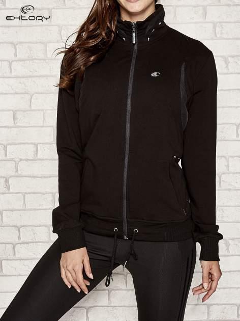 Czarna bluza sportowa fitness ze wstawkami