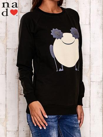 Czarna bluza z komiksowym nadrukiem                                  zdj.                                  3