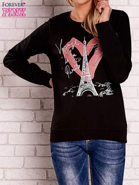 Czarna bluza z motywem paryskim                                  zdj.                                  1